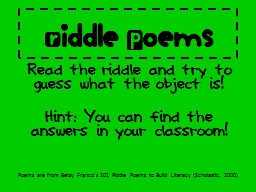 Riddle Poems