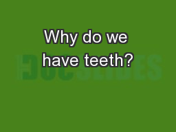 Why do we have teeth?