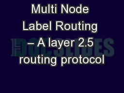 Multi Node Label Routing – A layer 2.5 routing protocol