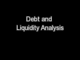 Debt and Liquidity Analysis