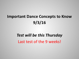 Important Dance Concepts to Know