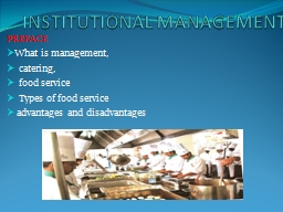 INSTITUTIONAL MANAGEMENT