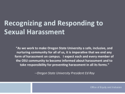 Recognizing and Responding to Sexual Harassment