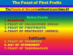 The Feast of First Fruits PowerPoint PPT Presentation
