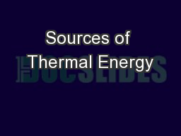 Sources of Thermal Energy