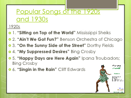 Popular Songs of the 1920s and 1930s