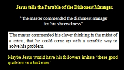Jesus tells the Parable of the Dishonest Manager.