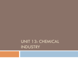 Unit 13: Chemical Industry