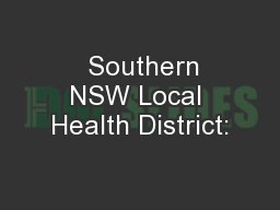 Southern NSW Local Health District: