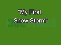 """My First Snow Storm"""