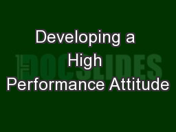 Developing a High Performance Attitude