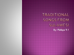 Traditional Songs From Sulawesi