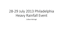 28-29 July 2013 Philadelphia Heavy Rainfall Event PowerPoint PPT Presentation