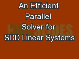 An Efficient Parallel Solver for SDD Linear Systems