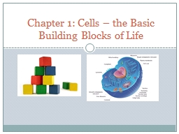 .. Chapter 1: Cells – the Basic Building Blocks of Life PowerPoint PPT Presentation