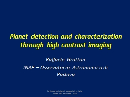 Planet detection and characterization through high PowerPoint PPT Presentation