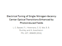 Electrical Tuning of Single Nitrogen-Vacancy Center Optical PowerPoint PPT Presentation