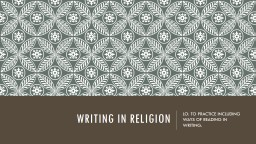 WRITING IN RELIGION