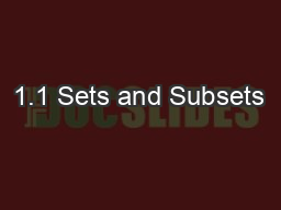 1.1 Sets and Subsets