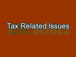 Tax Related Issues