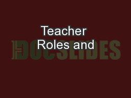 Teacher Roles and
