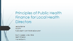 Principles of Public Health Finance for Local Health Direct
