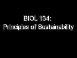 BIOL 134: Principles of Sustainability