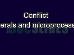 Conflict minerals and microprocessors PowerPoint PPT Presentation