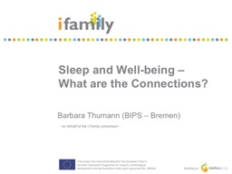 Sleep and Well-being –