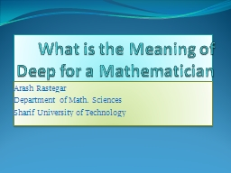What is the Meaning of Deep for a Mathematician