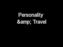 Personality & Travel