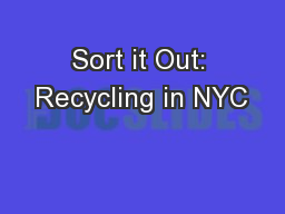 Sort it Out: Recycling in NYC