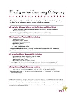 Note This listing was developed through a multiyear dialogue with hundreds of colleges and universities about needed goals for stu dent learning analysis of a long series of recommendations and report