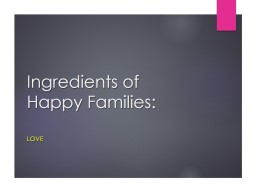 Ingredients of Happy Families: