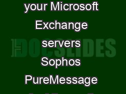 Sophos PureMessage for Microsoft Exchange Antivirus and antispam protection for your Microsoft Exchange servers Sophos PureMessage for Microsoft Exchange guards against emailborne threats such as spam