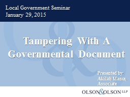 Tampering With A Governmental Document