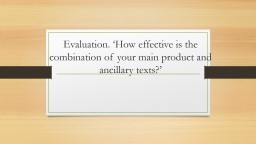 Evaluation. 'How