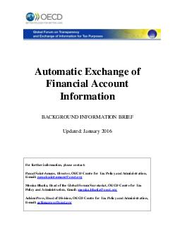 Automatic Exchange of Financial Account Information BACKGROUND INFORMATION BRIEF Updated  July  For further information  please contact Pascal Saint Amans Directo  OECD Centre for Tax Policy and Admin PowerPoint PPT Presentation