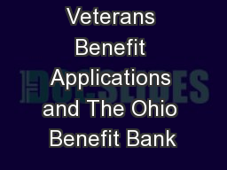 Veterans Benefit Applications and The Ohio Benefit Bank
