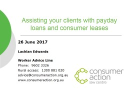 Assisting your clients with payday loans and consumer lease