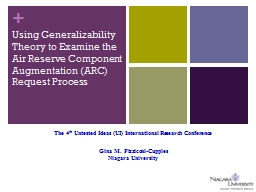 Using Generalizability Theory to Examine the Air Reserve Co