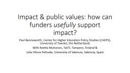 Impact & public values: how can funders PowerPoint PPT Presentation