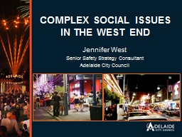 COMPLEX SOCIAL ISSUES IN THE WEST END PowerPoint PPT Presentation