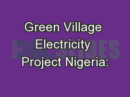 Green Village Electricity Project Nigeria: