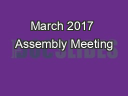 March 2017 Assembly Meeting