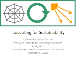 Educating for Sustainability