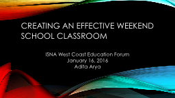 Creating an Effective Weekend School Classroom