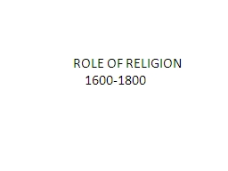 ROLE OF RELIGION PowerPoint PPT Presentation