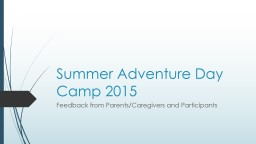 Summer Adventure Day Camp 2016 PowerPoint Presentation, PPT - DocSlides