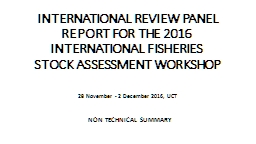 INTERNATIONAL REVIEW PANEL REPORT FOR THE
